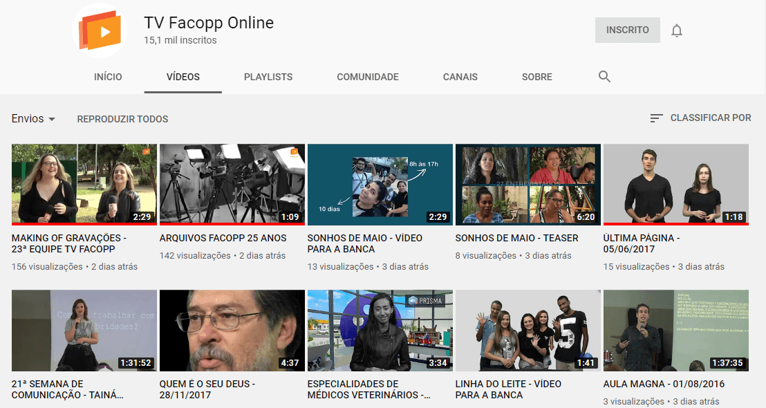 TV Facopp finaliza migração de vídeos para canal do Youtube